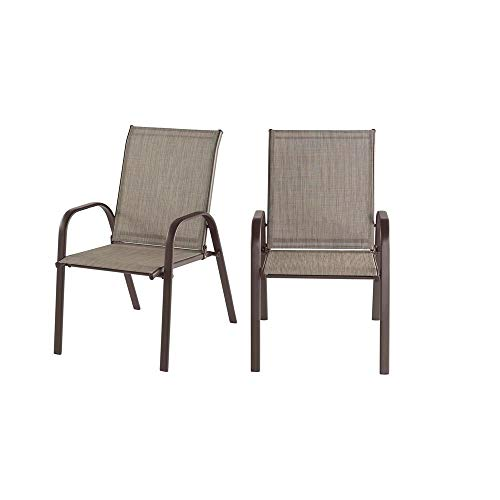 StyleWell Mix and Match Dark Taupe Steel Sling Outdoor Patio Dining Chair in Riverbed Taupe Tan (2-Pack)