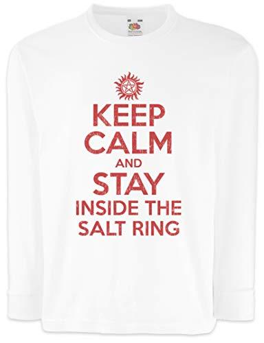 Urban Backwoods Keep Calm and Stay Inside The Salt Ring Kinder Kids Mädchen Jungen Langarm T-Shirt Weiß Größe 12 Jahre