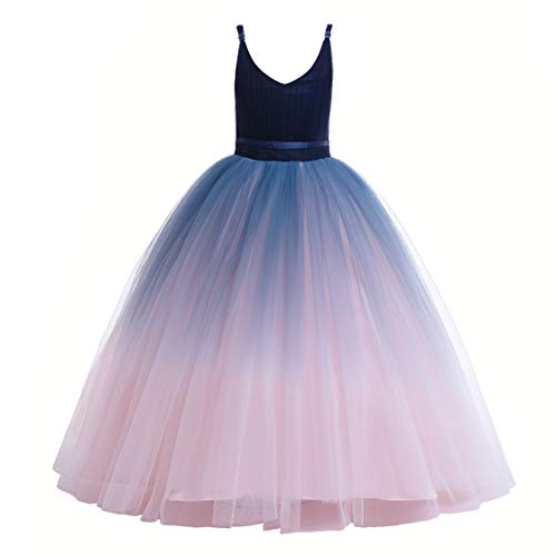 Glamulice Girls Lace Bridesmaid Dress Long A Line Wedding Pageant Dresses Flower Girls Princess Ombre Tulle Party Gown Pink Kids Birthday Maxi Dance Ballgown (11-12 Years, V-Navy Blue & Blush Pink)