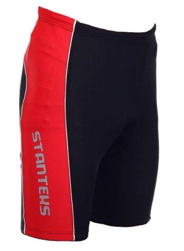 STANTEKS Radhose Kurz Fahrradhose ohne Träger Radlerhose mit Coolmax Sitzpolster SR0041 (L, Schwarz/Rot)