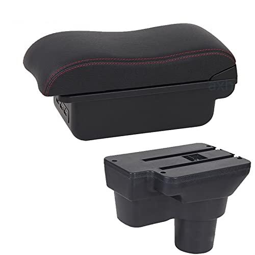 Reposabrazos de coche para Hyundai Solaris 2017 2018 2019 2020 para VERNA Accent Car Apoyabrazos caja de almacenamiento accesorios con USB LED consola central (color B1 negro rojo 3USB)