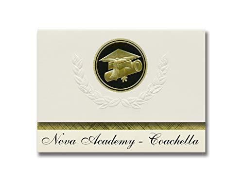 Signature Announcements Nova Academy Coachella (Coachella, CA) Graduation Announcements Presidential Style, Elite Paket mit 25 Cap & Diplom-Siegel Schwarz & Gold