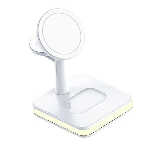 B Blesiya Cargador Inalámbrico 3 en 1 Estación de Carga Rápida 15W Qi-Certified para Auriculares Smartwatch - Blanco