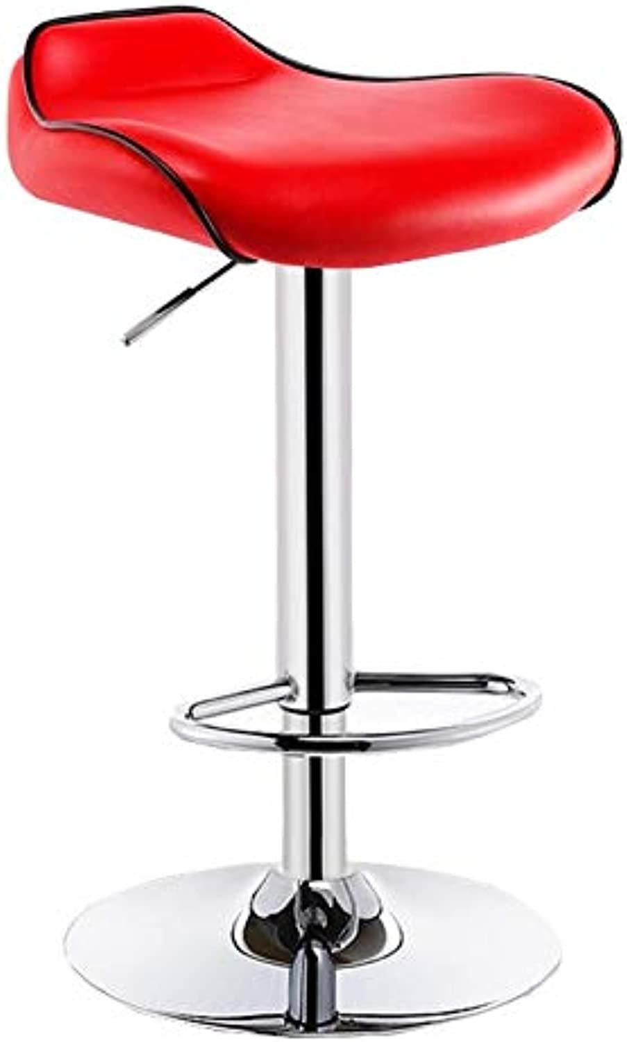 QIDI Bar Chair Adjustable Height 360° redation High Stool Leather Metal SGS Gas Rod, Household Bar (Size  41.5 X 41.5 X 62-82cm) (color   Red)