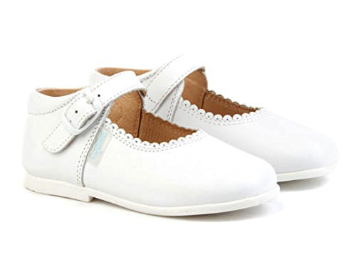 Merceditas de Cuero Color Blanco para Niña. Marca AngelitoS. Modelo 500. Todo Piel. Calzado Infantil Hecho en España. Número 22
