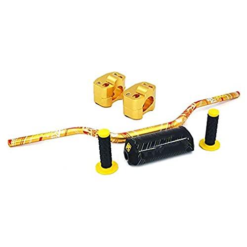 1 1/8' 28mm Dirt Bike Handlebar - Fat Handle Bar & Clamp Adapter & Pad & Grips for Suzuki RM250 RMZ250 DRZ400 RMZ450 Honda Kawasaki Yamaha