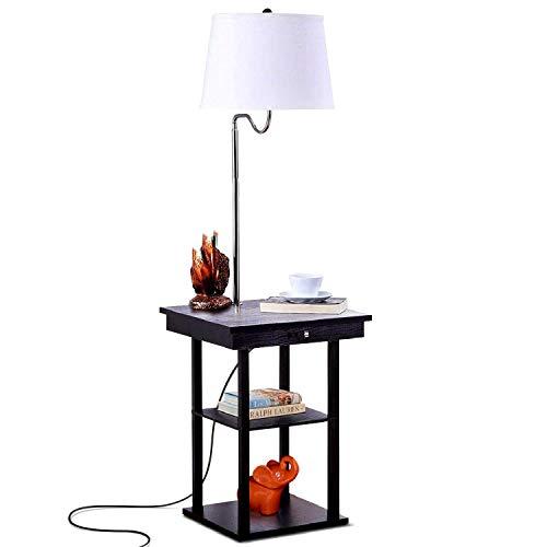Staande lamp, led-vloerlamp met USB-oplaadinterface, eenvoudige creatieve verlichting persoonlijkheid 's nachts/slaapkamer/met scheidingswand Amerikaanse vloerlamp (trekschakelaar) [energieklasse A +