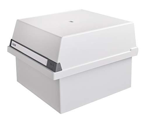 HAN Karteikasten A4 954-11 für 1.300 Karten, quer – Karteikartenbox in Lichtgrau mit großem Schriftfeld & inkl. 2 Stützplatten - simpel Ordnung halten