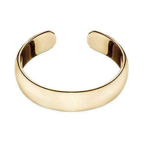 RS Jewels Zehenring aus 925erSterlingsilber, Gelbgold vergoldet, verstellbar, schlicht