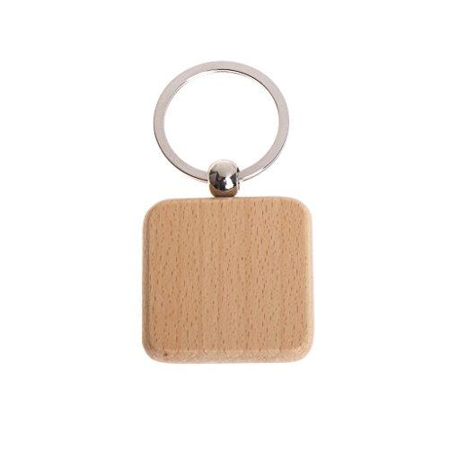 WDFVGEENatürlicher hölzerner Schlüsselring Keychain runde quadratische verlorene hölzerne Zusatz-Antigeschenke