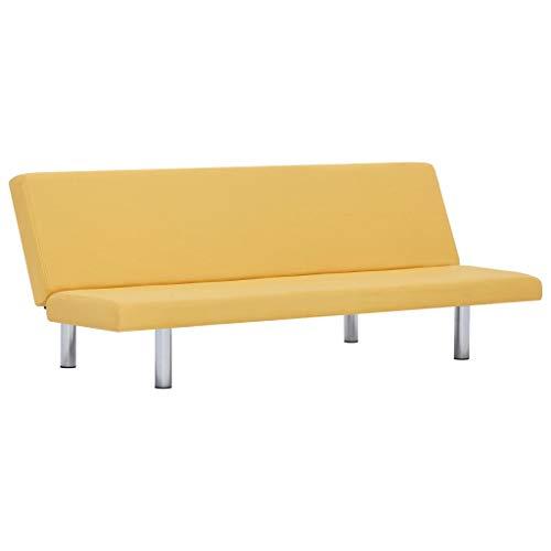 vidaXL Schlafsofa mit 3 einstellbaren Positionen Sofa mit Schlaffunktion Couch Gästebett Bettsofa Schlafcouch Polstersofa Wohnzimmer Gelb Polyester