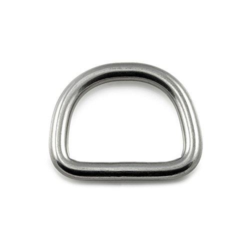 Ganzoo D - Ring aus Stahl, 5er Set, DIY Hunde-Leine/Hunde-Halsband, nichtrostend, Ideal mit Paracord 550, ohne Schweißnaht, Farbe: Silber