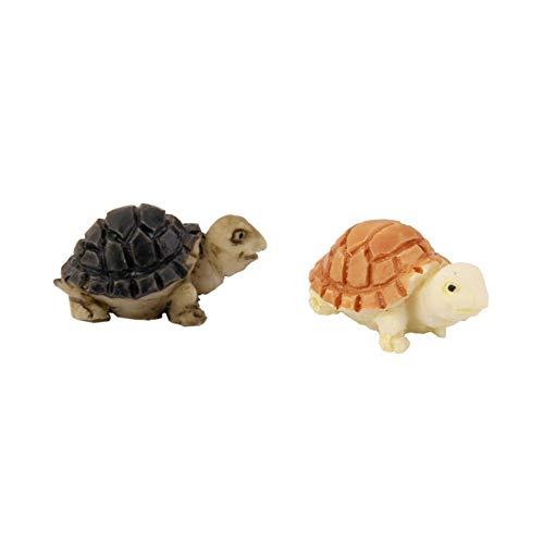 2ST Mini Puppen Schildkröte Bonsai Schildkröte Dekorationen Miniatur-Figur Micro Landschaft Fee Garten-Tier-Spielzeug-Puppe-Haus-Verzierung DIY Kit Kinderzimmer Dekor Gelb und Schwarz