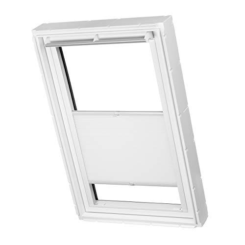 Dachfenster Waben Plissee ohne Bohren passend für Velux Fenster Plisseerollo Faltrollo verspannt Klebemontage (SK08, Weiß Tageslicht)
