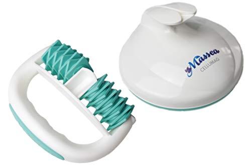 Massea® CelluMag + RollMag - Cepillo de masaje anticelulitis con imanes en turquesa, actúa contra la piel de naranja, la celulitis, para piel tersa mediante masaje, perfecto para bienestar y belleza