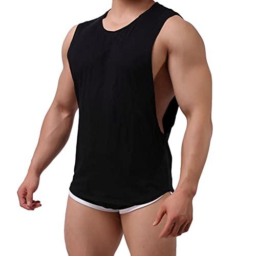 Tomwell Camiseta de Tirantes Hombres Deportiva Cuello Redondo Sin Mangas T-Shirt Bodybuilding Tank Tops Entrenamiento Gym Camisa Negro M