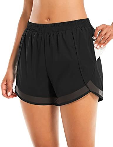 Athletic Shorts for Women,Light Workout Running Short Girls Elastic Waistbands Slimming Yoga Sports Short Pants Black S