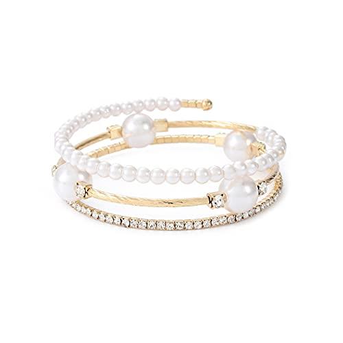 Yean Pulsera de joyería de capa con brazalete de perlas y cadena de mano de cristal dorado para mujeres y niñas