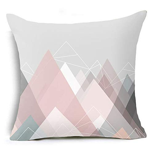 Amesii Letter Flower Geometric Pattern Throw Pillow Case Cushion Cover Home Sofa Decor - 17 Pink Graphic