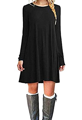 Tinyhi Women's Casual Plain Long Sleeve Loose Swing Cotton Dress, Black, Small
