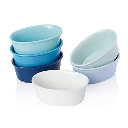 Sweese 506.003 Porcelain Ramekins 6 Ounce Souffle Dishes, Oval Ramekins for Baking, Set of 6, Cool Assorted Color