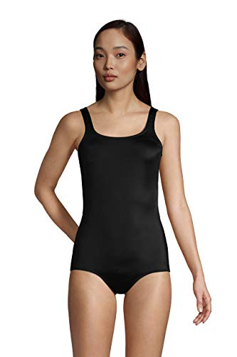 Lands' End Womens Chlorine Resistant Tugless Tank Soft Cup One Piece Swimsuit Black Long Torso