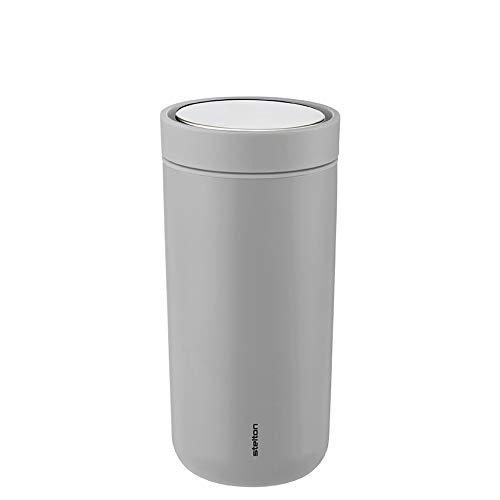 Stelton Thermobecher to-Go Click für Heißgetränke wie Tee und Kaffee in helldrau (matt), 0.4 l. - mat Light Grey
