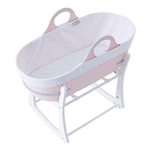 Tommee Tippee – Cuna Moisés para Bebés Sleepee, Cesta con Asas y Soporte, Eco-sostenible, Recién Nacidos, Color Rosa