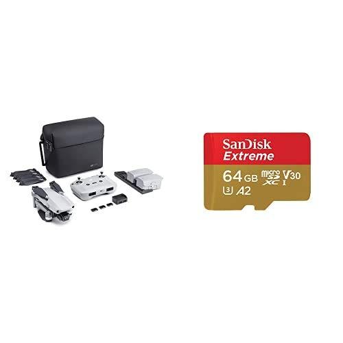 DJI Mavic Air 2 Combo Pack Drone Quadcopter UAV + SanDisk Extreme - Tarjeta de Memoria MicroSDXC de 64GB con Adaptador SD, Sin Care Refresh