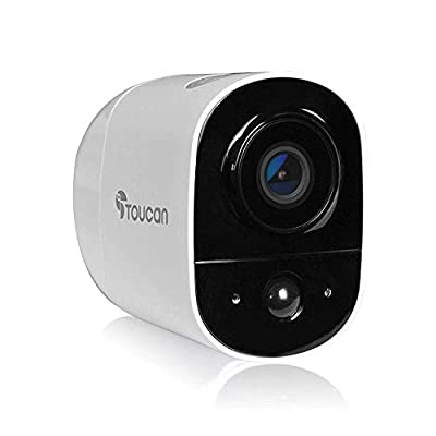 Toucan Wireless Outdoor Camera Build-in Rechargeable Battery, Free Cloud Storage, 1080P Full HD, Night Vision, Motion Sensor, Built-in Siren and Two-Way Audio, Works with Alexa and Google (1 Camera)