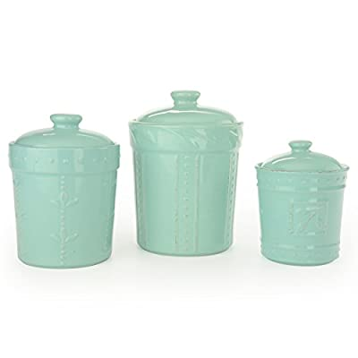 Signature Housewares Sorrento Collection Canisters (Set of 3), Aqua Blue from Signature Housewares