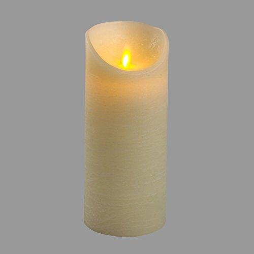 LuminalPark Bougie en Cire Rustique Couleur Ivoire, h 18 cm, LED Blanc Chaud, avec Timer, à Piles