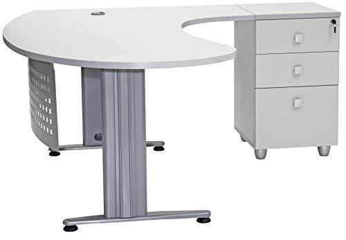furni24 Schreibtisch Homeoffice Chefschreibtisch Schreibtisch Winkeltisch Gela grau rechts gewinkelt inkl. Beistellcontainer mit 3 Schubladen