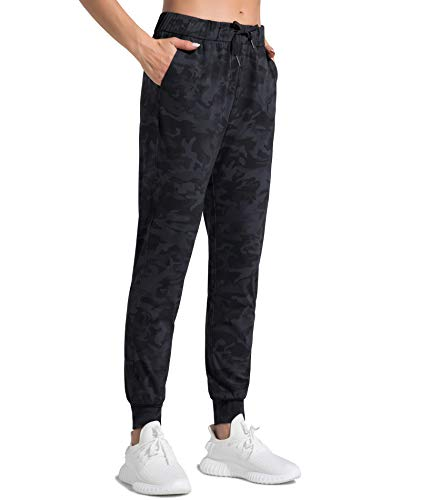Dragon Fit Drawstring Joggers for Women with Pockets,Workout Tapered Sweatpants Women's Lounge Running Pants (X-Large, Black&Grey Camo)