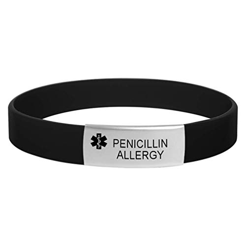 MZZJ PENICILLIN Allergy Drug Allergy Bracelet Medical Health Alert Safety ID Jewelry,100% Silicone Rubber&Stainless Steel Plate ID Outdoor Sport Warning Bracelet Band for Unisex,Black,7.87'