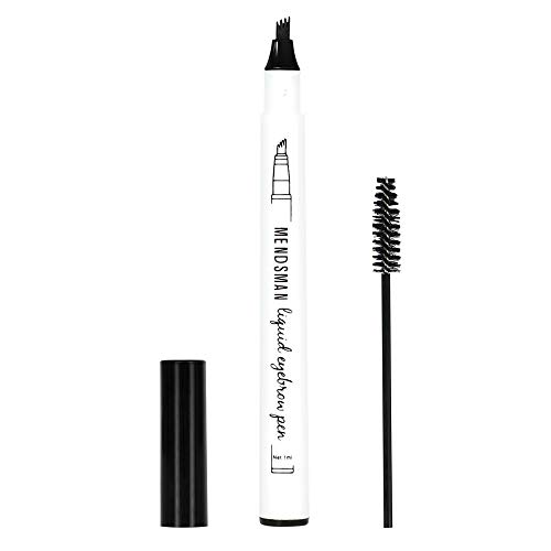 (2 pieces/set) Tattoo Eyebrow Pen with Four Tips Long-lasting Waterproof Brow Gel and Tint Dye Cream for Eyes Makeup, create natural eyebrows and keep them all day long (Black)