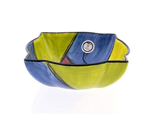 CERÁMICA RAMBLEÑA   Ensaladera cerámica   Ensaladeras Originales   Ensaladeras decoración Tutti - Modelo 07   100% Decoración a Mano   19.5x19.5x7 cm