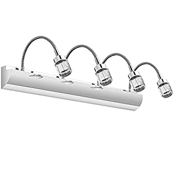 YITAHOME Chrome LED 4 Vanity Light with Adjustable Gooseneck 24 Inch Crystal Bathroom Light Fixtures Over Mirror 12W 6000K Cool White Lighting for Bedroom Living Room Makeup