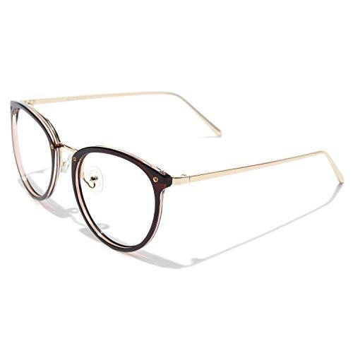 CGID Rundes Brillengestell TR90 Metallrahmen Oversized 2019 Neue Mode nicht verschreibungspflichtige Brille für Damen und Herren