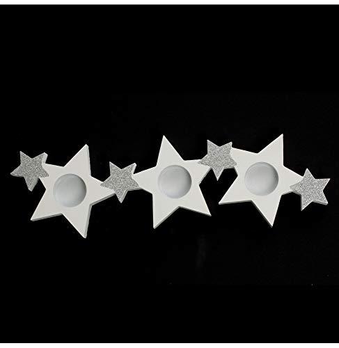 AC-Déco Photophore étoile - Bois - Blanc