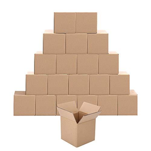 頑丈な引越紙段ボール製メーラーボックスSサイズ長さ6インチ x 幅6インチ x 高さ6インチ。発送、梱包、引っ越しに素晴らしい選択(20個入りパック)