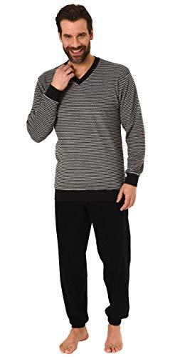 RELAX by Normann Lässiger Herren Frottee Pyjama Langarm mit Bündchen in Ringel - Optik - 291 101 13 784, Größe2:56, Farbe:grau