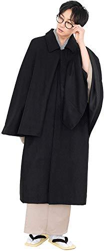 KYOETSU Herren Japanischer Kimono Tonbi Inverness Mantel Wollstoff - Schwarz - Medium