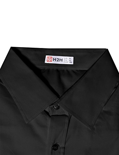 H2H Mens Casual Slim Fit Button Down Shirts with Solid Short Sleeve BLACK S (JASK36_40)