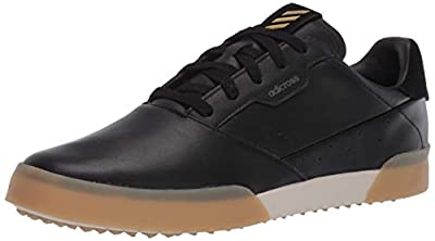 adidas Men's Adicross Retro Golf Shoe, core Black/Gold Metallic/Gum, 11 Medium Wide US