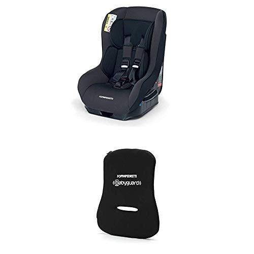 Foppapedretti Go! Evolution Seggiolino Auto, Gruppo 0/1 (0-18 Kg) per Bambini dalla Nascita Fino a 4 Anni Circa, Nero (Carbon) + Dispositivo Antiabbandono, Nero