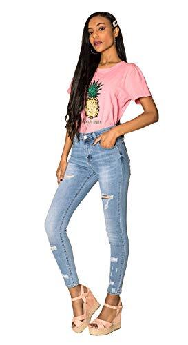 EGOMAXX Damen Denim Jeans Stretch Hose Skinny Röhrenjeans Destroyed Pants Risse, Farben:Blau, Größe:36