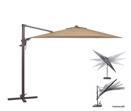 Madison Ampelschirm Monaco Flex 330 cm in Natur Ecru inklusive Ständer, sowohl axial als auch am Mast verstellbar, UV-Schutz 50 Plus