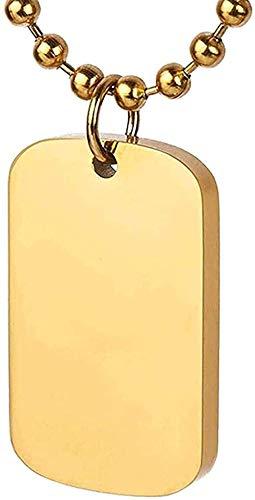 BEISUOSIBYW Co.,Ltd Collar de Moda de Acero de Titanio Personalizado Collar con Colgante de Etiqueta de Perro grabable para Hombres Mujeres 28 Pulgadas Oro Mujeres Hombres