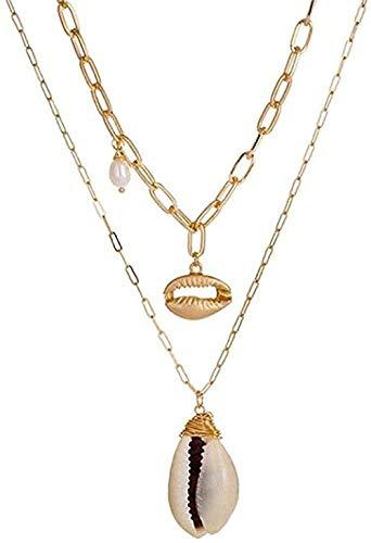Zaaqio Collar de Concha de Estrella de mar de Oro, Collar con Colgantes Largos, Collares para Mujer, Collares de Cadena de Concha, Gargantilla de joyería